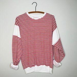 Vintage Retro 90's Striped Plane Sweatshirt